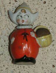 Vintage German Pincushion And Thimble Holder Gnome Elf Girl 4 1/4and039and039