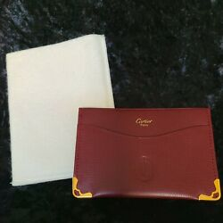 Paris Leather Business Credit Card Id Holder Wallet New Burgundy