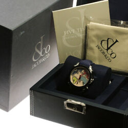 Jacob And Co 5 Time Zone Stainless Rubber Quartz 40mm Analog Watch Used With Box