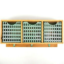 Farmhouse Chic Blonde Wood And Mint Green Metal 3-cubby Entryway Wall Shelf Hooks