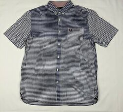 Fred Perry Men#x27;s Button Up Short Sleeve Plaid Multi Blue Shirt Size Large $29.99