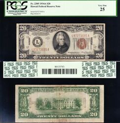 Very Nice Bold And Crisp Vf 1934 A 20 Hawaii Fed Reserve Note Pcgs 25 Free Ship