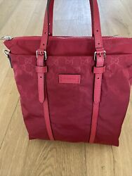 NWT Gucci Red GG Nylon Leather Large Crossbody Tote Bag Authentic $499.00