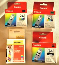 Lot Of 4 Canon Ink Cartridges, Qty 1 Bci-24 Black And Qty 3 Bci-24 Color, All Nib