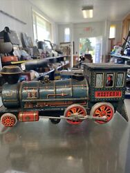 Vintage Western Tin Metal 12 Toy Train Battery Operated Mt Modern Parts Parts