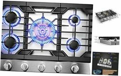 Gls30501 30andrdquo Stainless Steel 5-burner Gas Tri-ring 21000 Btus Center Cooktop