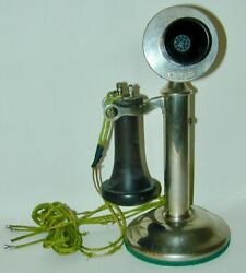 Western Electric 229w 20 Mc Candlestick Telephone Pat 1904 Double Pole Receiver