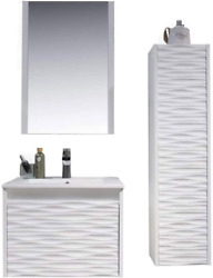 24 Inch White Bathroom Vanity With Sink, All Wood Floating Bathroom Vanity With
