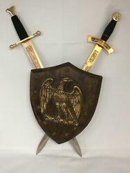 Vintage Americana Medieval Gold Eagle Stars Shield Coat Of Arms 2 Daggers Plaque