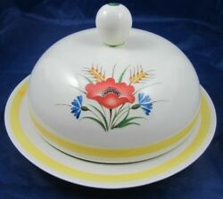 Vintage Arabia Of Finland Cheese Butter Dish Ara55 Red Blue Flower Mcm