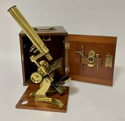Antique Victorian Brass Bar Limb Microscope In Box With Lenses And Accessories