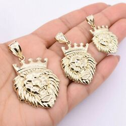 Roaring Lion Head Crown Pendant Charm Real 10k Yellow Gold All Sizes