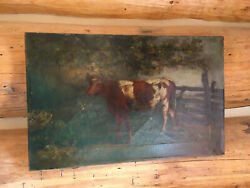 Antique Oil On Canvas Of A Cow Unframed Unsigned