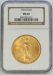 1923 D Gold 20 Saint Gaudens Double Eagle Coin Ngc Mint State 64