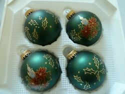 Vintage Christmas Glass Ornaments X 4 - C1980s West Germany Collectible Prop