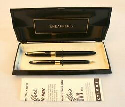Vintage Sheafferand039s Touchdown Snorkel Pen And Pencil Set With Rare Mcm Case And Dot