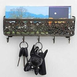 Oakeer Wall Mount Mail Holder And Key Hooks Bronze Basket With Hanging Key R...