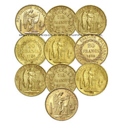 Lot Of 10 French 20 Franc Angels Gold Coins Fractional World Bullion France