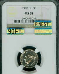 1990-d Roosevelt Dime Ngc Ms-68 90ft Pq Mac Finest Mac Spotless 10000 In Ft .