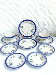 Ll Bean Blueberry Dishes Lot Of 10 Plates And Bowls