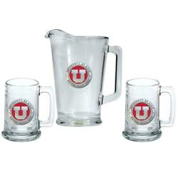 University Of Utah Utes Pitcher And 2 Stein Glass Set Beer Set