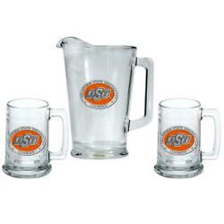 Oklahoma State University Pitcher And 2 Stein Glass Set Beer Set
