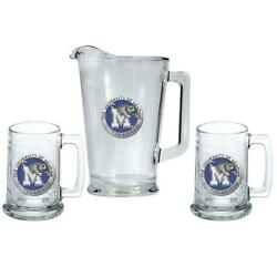 University Of Memphis Tigers Pitcher And 2 Stein Glass Set Beer Set