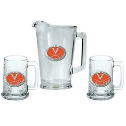 University Of Virginia Cavaliers Pitcher And 2 Stein Glass Set Beer Set