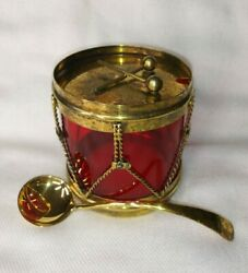 Art Deco Sterling Silver-mounted Red Glass Drum-form Condiments Jar