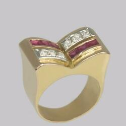 Art Deco Diamond And Ruby 18ct Gold Vintage French Retro Cocktail Ring 1930and039s