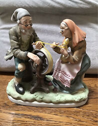 Lefton Vintage Old Man amp; Old Woman with Spinning Wheel Figurine # 4146