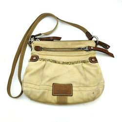 Fossil Woven Fabric And Leather Crossbody Bucket Women#x27;s Bag Cream Tan Preowned $20.00