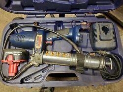 Lincoln Grease Gun 14.4v Case Battery And Charger Powerluber