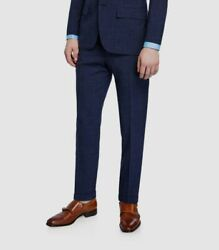 3745 Kiton 35w Menand039s Blue Straight Flat Front Check Wool Suit Trousers Pants