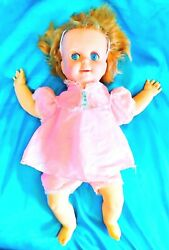 Say And039n See - Mattel 17andrdquo Baby Doll - 1965 Blonde Hair Blue Eyes Pink Dress