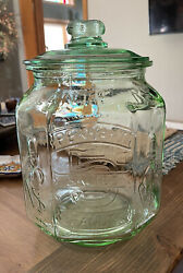 Rare Vintage Green Planters Pennant 5 Cent Salted Peanuts Jar With Lid