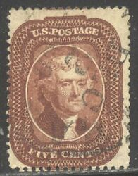 U.s. 28a Rare Used W/ Cert - 5c Indian Red