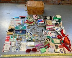 Large Lot Sewing Supplies Basket Needles Thread Scissors Chunky Safety Pins Etc