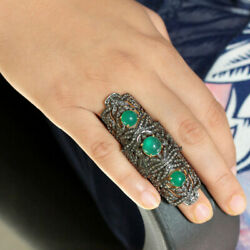 Onyx Gemstone Sterling Silver Pave Diamond Gold Plated Armor Knuckle Ring Mj