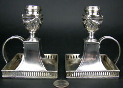 Pair Antique 800 Silver Chamber Candle Sticks Holders Somme Swan Mark Germany