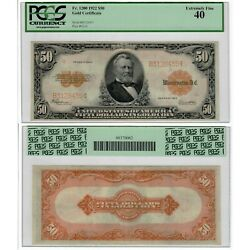 1922 50 Gold Certificate Fr1200 Pcgs Currency Extremely Fine 40