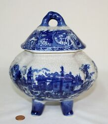 Victoria Ware Ironstone Blue And White Lidded Footed Bowl - Original And Beautiful