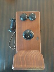Antique Wall Mount Western Electric Crank Wood Telephone