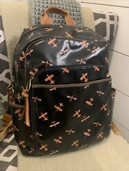 Fossil Pvc Coated Multi Color Airplanes Backpack Zip Closure Side Pockets Large