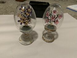 2 Franklin Mint House Of Faberge Glass Eggs With Flowers Made In Austria