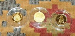 Three 1/10 Oz Gold Lion Coins Russia S Africa Pf Pr Proof Russian 0.333 Oz Total