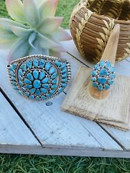 Vintage Navajo Kingman Turquoise And Sterling Silver Bracelet And Ring Set Signed