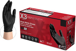 X3 Black Nitrile Industrial Gloves, 3 Mil, Powder Free, Textured, Disposable