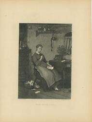 Antique Farm Girl Woman Writing Letter Tea Pot Potted Plant Old House Print