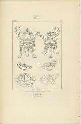 Antique Pompeii Rome Grecian Ancient Design Of Old Oil Lamp Claw Feet Old Print